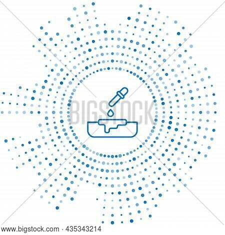 Blue Line Petri Dish With Pipette Icon Isolated On White Background. Abstract Circle Random Dots. Ve