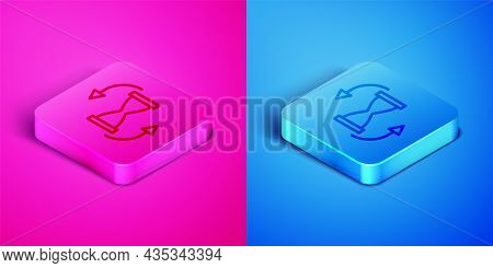 Isometric Line Old Hourglass With Flowing Sand Icon Isolated On Pink And Blue Background. Sand Clock
