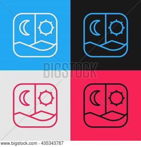Pop Art Line Ramadan Fasting Icon Isolated On Color Background. Fast Day And Night. Religious Fastin