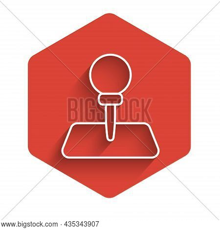 White Line Push Pin Icon Isolated With Long Shadow Background. Thumbtacks Sign. Red Hexagon Button.