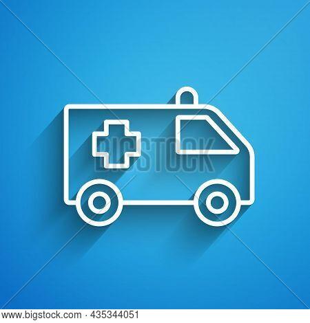 White Line Ambulance And Emergency Car Icon Isolated On Blue Background. Ambulance Vehicle Medical E