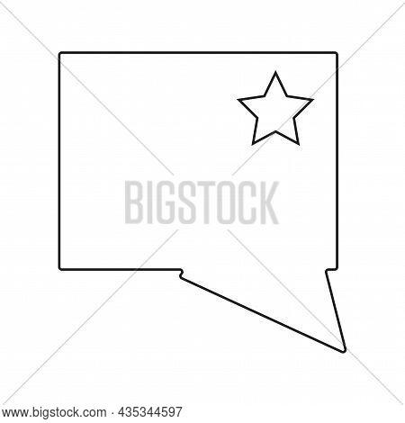 Rectangle Dialogue Icon. Star Sign. Communication Background. Art Message Emblem. Vector Illustratio