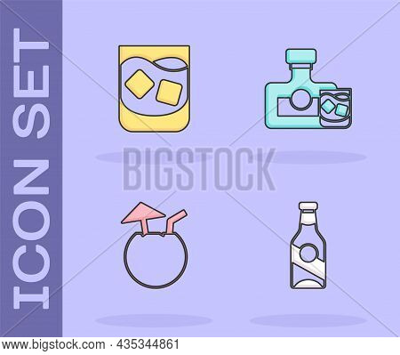 Set Beer Bottle, Glass Of Whiskey, Coconut Cocktail And Whiskey And Glass Icon. Vector