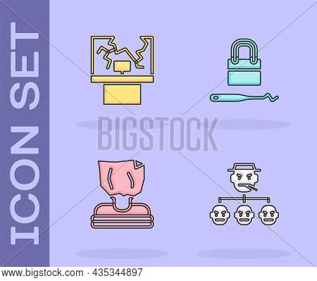Set Mafia, Broken Window, Kidnaping And Lock Picks For Lock Picking Icon. Vector