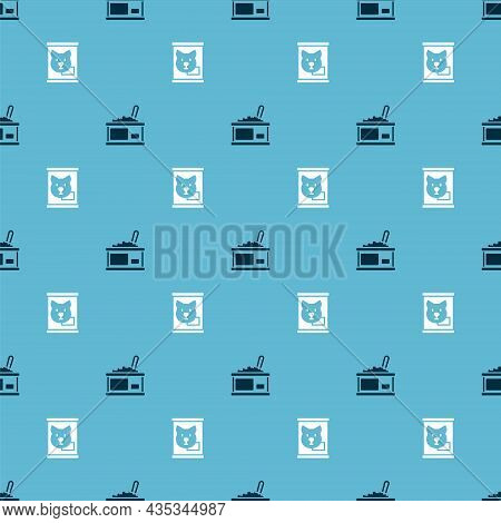 Set Tin Can With Caviar And Canned Food On Seamless Pattern. Vector