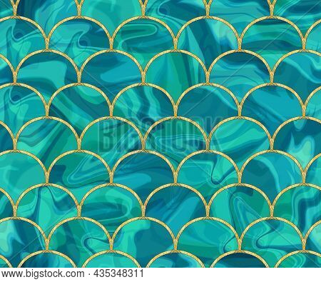 Arcs Seamless Pattern. Mosaic, Inlay. Illustration In Stained Glass Style. Art Deco Style. Seamless