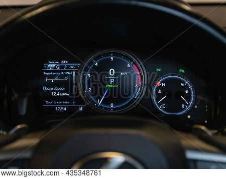Novosibirsk, Russia - August 21, 2021: Lexus Rx,  Sign And Symbol On Car Dashboard. Car Speedometer