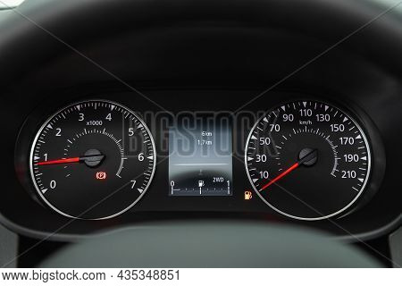 Novosibirsk, Russia - July   08, 2021: Renault Duster , Sign And Symbol On Car Dashboard. Car Speedo