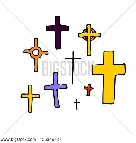 Doodle Crosses Set. Outline Grave Isolated On White Background. Color Sign Of Halloween, Day Of The