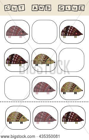 Sudoku For Kids With Funny Forest Animals Hedgehogs. Children's Puzzles. Preschool Worksheet, Kids A