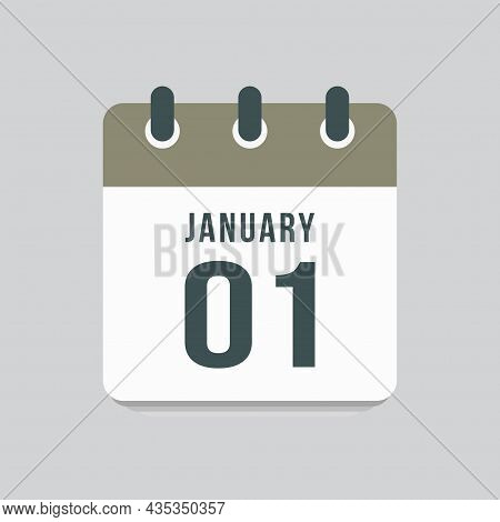 Icon Day Date 1 January, Template Calendar Page