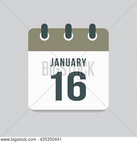 Icon Day Date 16 January, Template Calendar Page