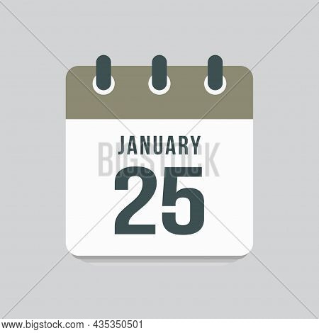 Icon Day Date 25 January, Template Calendar Page