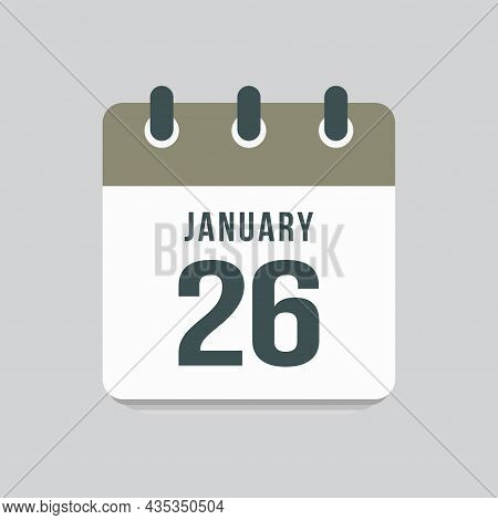 Icon Day Date 26 January, Template Calendar Page