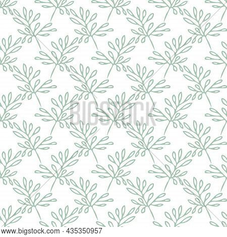 Leaves Seamless Pattern Hand Drawn Doodle. Vector, Minimalism, Monochrome. Textiles, Wrapping Paper