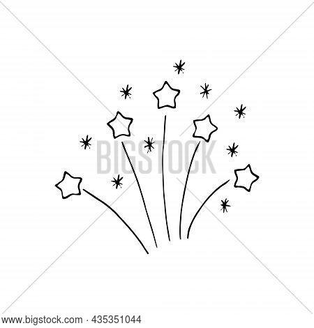 Fireworks Hand Drawn Doodle. Vector, Minimalism, Monochrome. Icon, Sticker. Celebration New Year Ind
