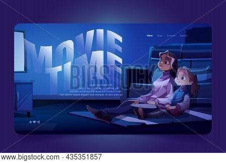 Movie Time Banner With Woman And Child Watching Tv. Vector Landing Page Of Family Watch Cinema With