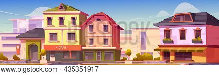 European Street Buildings, Europe City Houses Of Retro And Modern Architecture Design. Provincial To