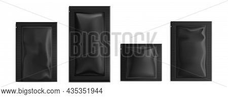 Black Sachet, Pouch Vector Bags Mockup, Wet Wipes Paper Or Foil Packs. Isolated Blank Packages For F