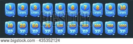 Set Of Water Game Level Ui Icons, Blue Banners With Xp Rate And Liquid Drops. Award Or Bonus Graphic