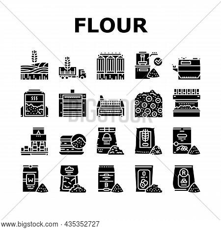 Flour Factory Industry Production Icons Set Vector. Wheat And Oat, Barley And Rice Flour For Baking