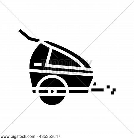 Trailer Kid For Bicycle Glyph Icon Vector. Trailer Kid For Bicycle Sign. Isolated Contour Symbol Bla