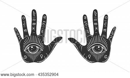 Retro Drawing Of Palms With An All-seeing Eye And Symbols Of The Planets, An Icon For Palmistry, Two