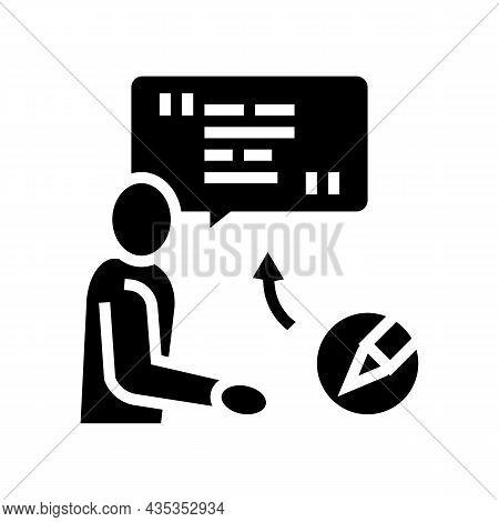 Corporate Communications Copywriting Glyph Icon Vector. Corporate Communications Copywriting Sign. I