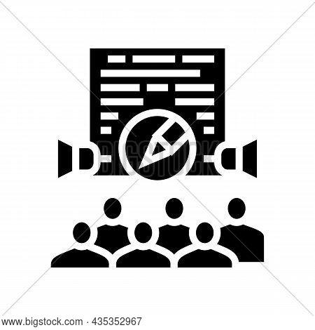 Public Relations Copywriting Glyph Icon Vector. Public Relations Copywriting Sign. Isolated Contour