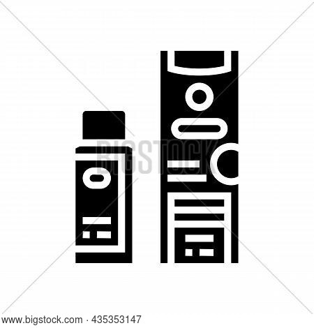 Clarifier And Oxide Packages For Hair Coloring Glyph Icon Vector. Clarifier And Oxide Packages For H