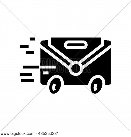 Express Mail Glyph Icon Vector. Express Mail Sign. Isolated Contour Symbol Black Illustration