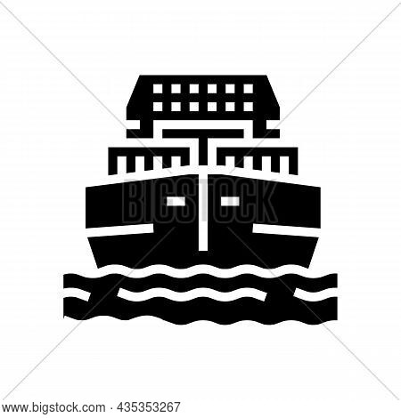 Sea Freight Delivery Glyph Icon Vector. Sea Freight Delivery Sign. Isolated Contour Symbol Black Ill