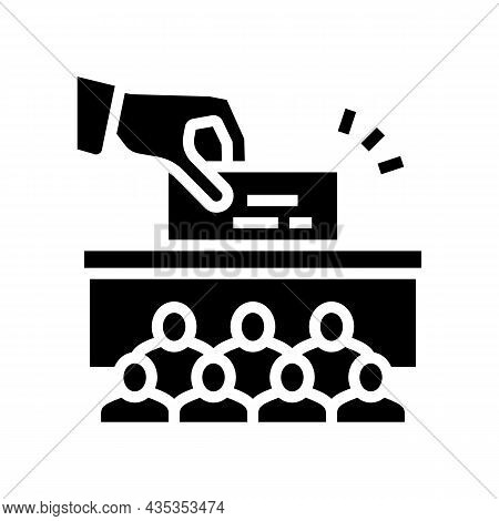 Voting Vote Box Politics Choice Election Glyph Icon Vector. Voting Vote Box Politics Choice Election