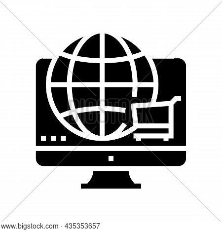 Worldwide Shopping Glyph Icon Vector. Worldwide Shopping Sign. Isolated Contour Symbol Black Illustr