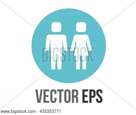 Vector Gradient Blue Restroom Circle Icon Button With Iconography Of Man And Woman