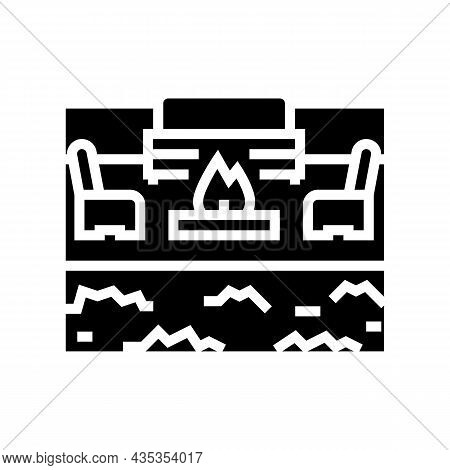 Outdoor Living Furniture And Fireplace Glyph Icon Vector. Outdoor Living Furniture And Fireplace Sig