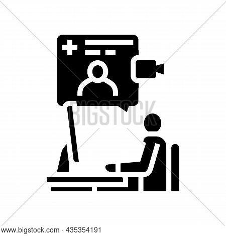 Video Consultation Glyph Icon Vector. Video Consultation Sign. Isolated Contour Symbol Black Illustr