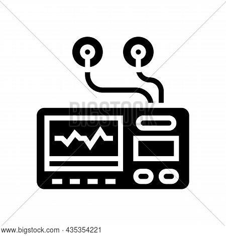 Portable Electrocardiogram Glyph Icon Vector. Portable Electrocardiogram Sign. Isolated Contour Symb