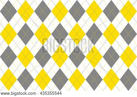 Colors Of Year 2021 Illuminating Yellow And Ultimate Gray Geometric Seamless Argyle Pattern On White