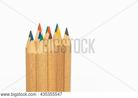 Colour Pencils Isolated On White Background.closeup.colored Pencils Background. Color Pencils On Whi