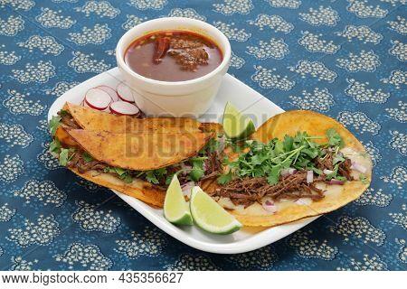 homemade beef birria tacos, mexican food