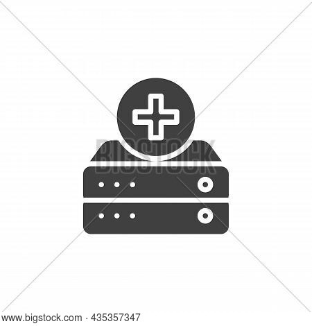 Add To Database Vector Icon. Filled Flat Sign For Mobile Concept And Web Design. Add Data Server Gly