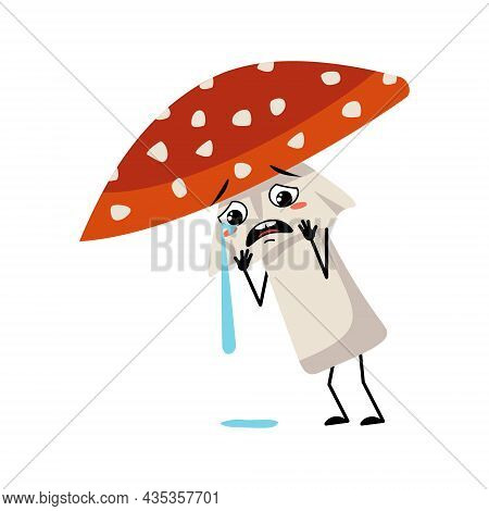 Cute Amanita Character With Crying And Tears Emotion, Sad Face, Depressive Eyes, Arms And Legs. Fly