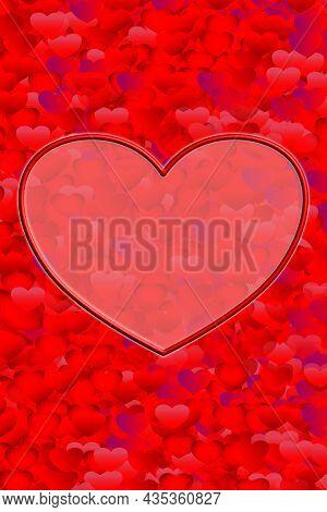 Colored Valentine Illustration On A Red Background. Valentine's Day. Happy Birthday. Wedding Postcar