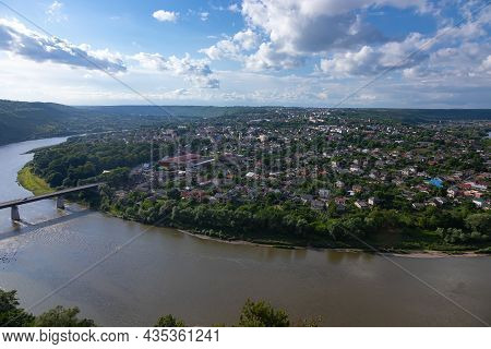 Panorama Of Zalishchyky And The Dniester River From The High Bank. Ukraine
