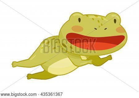 Cute Frog Jumping. Green Funny Amphibian Toad Character Cartoon Vector Illustration