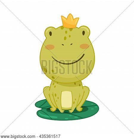 Cute Frog Princess Sitting On Lotus Leaf In Pond. Green Funny Amphibian Toad Character Cartoon Vecto
