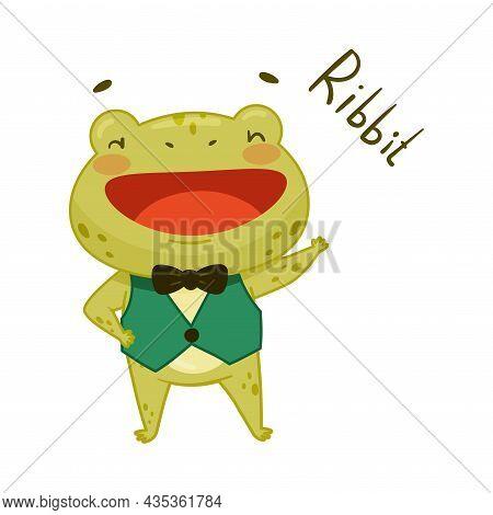 Cute Frog Gentleman In Vest And Bow Tie. Green Funny Amphibian Toad Character Cartoon Vector Illustr