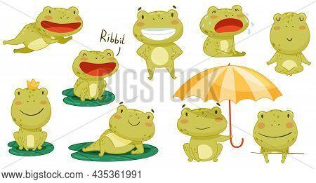 Cute Frog Activities Set. Green Funny Amphibian Toad Character Smiling, Jumping And Croaking Cartoon