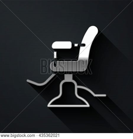 Silver Barbershop Chair Icon Isolated On Black Background. Barber Armchair Sign. Long Shadow Style.